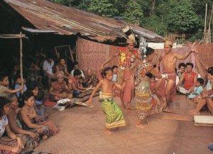 Malaysia Ibans Performing Ngajat Dance Rare Malaya Large Postcard