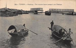 Vietnam Tonkin Haiphong bridge boats Postcard