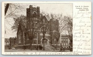 Freeport Illinois~First ME Church~View from Across Street~Square Tower~1906