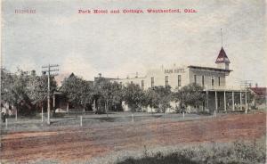 Weatherford Oklahoma~Dirt Rd Past the Park Hotel w/Corner Turret~c1910 Postcard