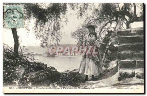 Menton - Artistic Study - Peasant Mentonaise - Female Fantasy - Old Postcard