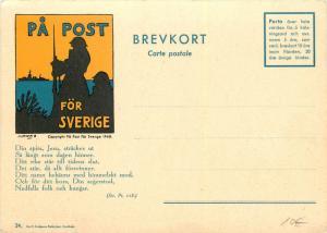 pa Poste para Sverige Suecia Militar Continental Tamaño Tarjeta Postal Poema