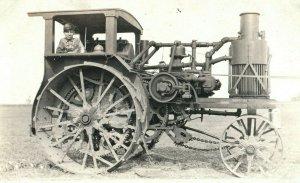 C.1910 RPPC Huge Tractor Bethany, OK Prairie Postcard P165