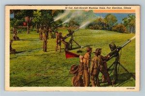 Fort Sheridan IL-Illinois, 50 Cal. Anti-Aircraft Machine Guns, Linen Postcard