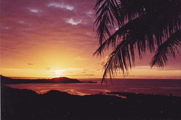 Micronesia Pohnpei Beautiful Sunset Over Beach Scene
