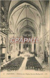 Old Postcard Poitiers Interior of the Church of Sainte Radegonde