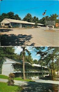 Ogunquit ME~Lots of Shade~Milestone Motor Court~Two Views~1950s~Postcard