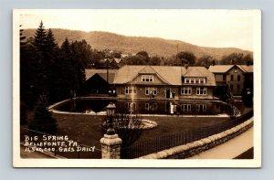 Postcard PA Bellefonte Pennsylvania Big Spring 11 Million Gallons Daily RPPC T20