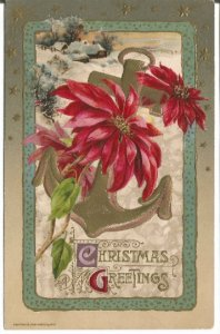 Bright Ruby Red Poinsettia Intertwined with Gold Anchor Snow Covered Cottage
