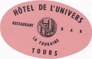 France Tours Hotel De L'Univers Vintage Luggage Label sk2147