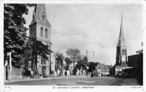 Steatham England St Leonard's Church Real Photo Antique Postcard (J35019)