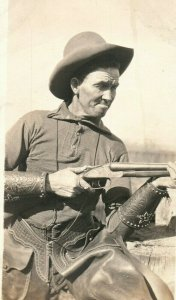 C.1910 RPPC Bill Robinson Dressed As Cowboy Chaps Shotgun Postcard P165