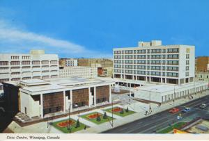 Winnipeg Manitoba MB Civic Centre Complex Stadium Old Cars Vintage Postcard D17