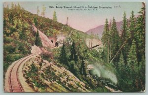 Shasta Route~Southern Pacific Railroad~Loop Tunnel~Siskiyou Mountains~c1910 PC