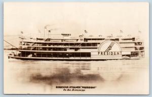 Postcard MS Steamer Ship Streckfus Steamer President Mississippi RPPC Photo N5