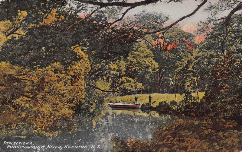 Reflections, Purapurakina River, Riverton, New Zealand, Early Postcard, Unused