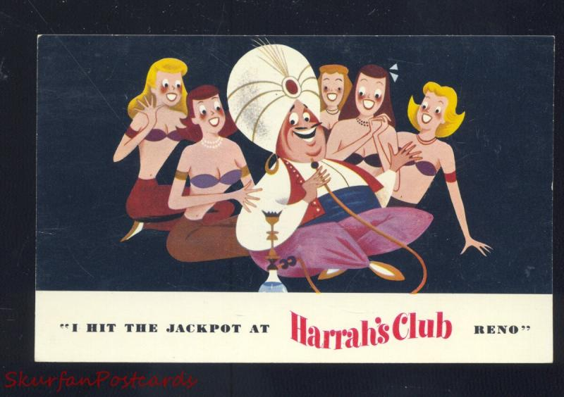 RENO NEVADA HARRAH'S CLUB CASINO VINTAGE ADVERTISING POSTCARD JEANIE GIRLS