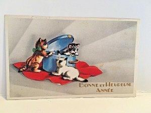 Vintage Late 1800s Victorian Trade Card- by Bonne et Heurse Annee.  -Kittens
