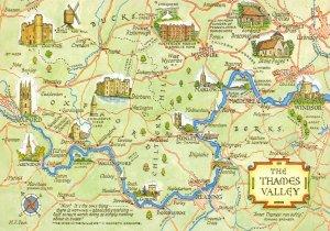 The Thames Valley Map Postcard, Oxford, Abingdon, Reading, Henley, Windsor BG4
