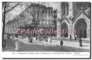 Postcard Old Clothes Thiery Sigrand groin and Avenue de la Gare Nice