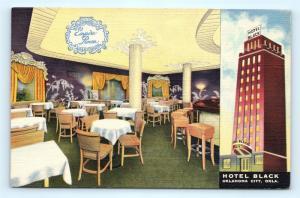 Postcard OK Oklahoma City Hotel Black Interior Empire Room Vintage Linen I12