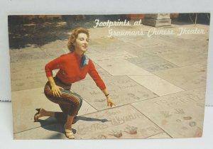 Grauman's Chinese Theatre Hollywood California Footprints Vintage Postcard