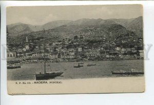 432724 Portugal Madeira Funchal view ships Vintage postcard