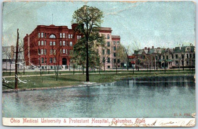 Columbus, Ohio Postcard Ohio Methodist University & Protestant Hospital 1908