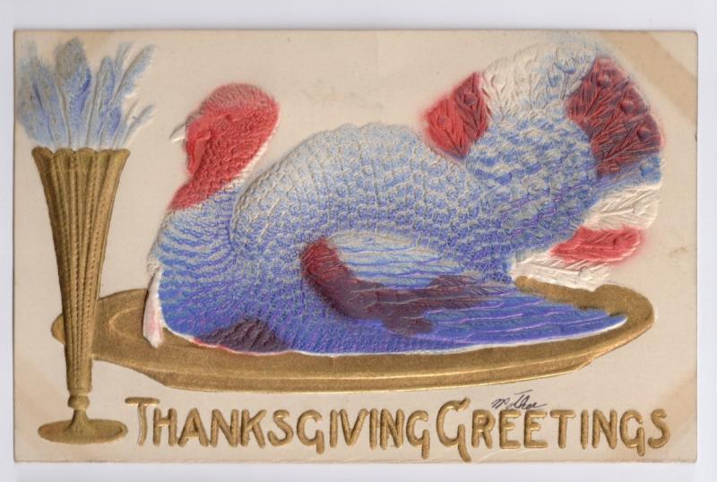 Vintage Thanksgiving Postcard Airbrushed Embossed Turkey on Gilded Gold Platter