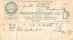 1920 Bishop Kennedy Co Estate Stoves Hardware Sporting Goods Billhead Receipt