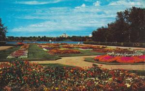 REGINA, Saskatchewan, Canada; View of beautiful flower gardens, Legislative B...