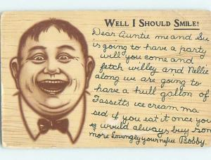 Pre-1907 comic WELL I SHOULD SMILE - SMILING FAT MAN SHOWN HQ8432