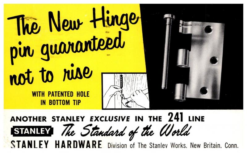 Connecticut New Britain, Stanley Hardware , the New Hinge Pin