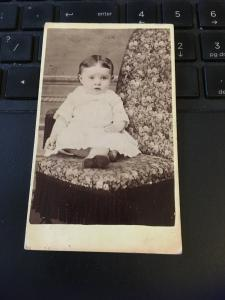 Vintage Cabinet Card Photo - Late 1800s Baby Toddler,Seated . Wolfe Studio IA
