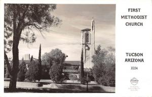 Tucson Arizona First Methodist Church Frasher Real Photo Antique Postcard J69460