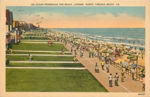 Virginia Beach VA~Ocean Promenade and Beach~Ferris Wheel~Casino~1948 Postcard