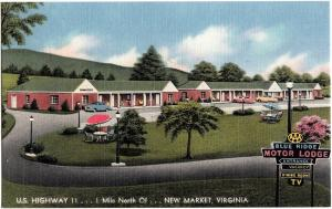 Old NEW MARKET Virginia VA Postcard BLUE RIDGE MOTOR LODGE Roadside Linen