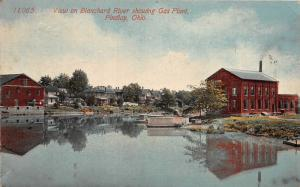 F12/ Findlay Ohio Postcard c1910 Blanchard River Gas Plant