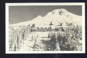 RPPC TIMBERLINE LODGE OREGON WINTER SNOW VINTAGE REAL PHOTO POSTCARD