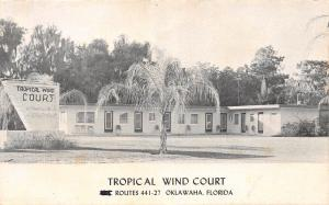 C15/ Oklawaha Florida Fl Postcard c1940s Tropical Wind Court Roadside