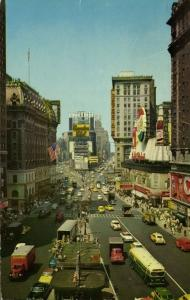 NEW YORK, N.Y., Times Square, Car Bus Truck, Pepsi Cola Sign (1959) Stamp