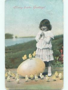Pre-Linen easter CUTE GIRL WITH GIANT EGG AND LOTS OF CHICKS J2405