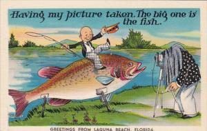 Florida Exageration Greetings From Laguna Beach Man Sitting On Giant Fish