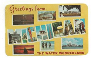 Postcard MI Greetings from MICHIGAN The Water Wonderland LARGE Letter Postcard