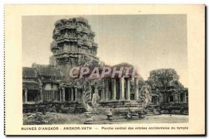 Postcard Ancient Cambodia Ruins of Angkor Vath Porch central western temple e...