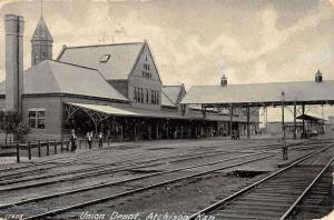 Atchinson Kansas Union Depot Street View Antique Postcard K47663