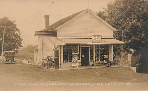 Lime Lake NY Gas Station Popcorn Wagon Real Photo Postcard