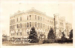 Carroll Iowa~St Angela Academy~Unique Entrance~Pines in Front~Vintage RPPC
