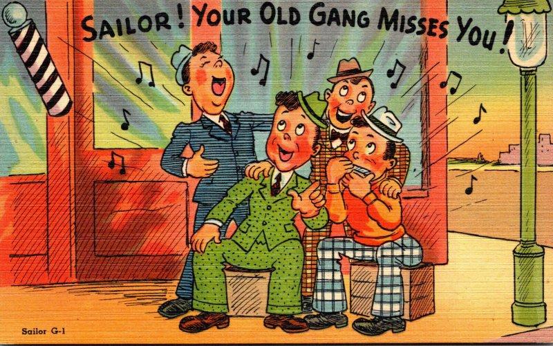 Humour Four Men At Barber Shop Singing