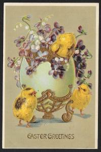 Easter Greetings Chicks Violets & Large Ornate Egg Used c1910s